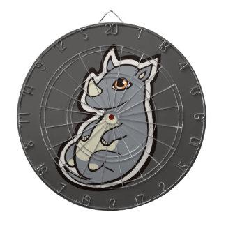 Cute Baby Gray Rhino Big Eyes Ink Drawing Design Dart Board