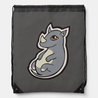 Cute Baby Gray Rhino Big Eyes Ink Drawing Design Drawstring Backpack
