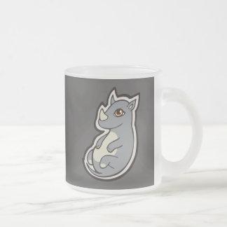 Cute Baby Gray Rhino Big Eyes Ink Drawing Design Frosted Glass Coffee Mug