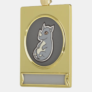 Cute Baby Gray Rhino Big Eyes Ink Drawing Design Gold Plated Banner Ornament