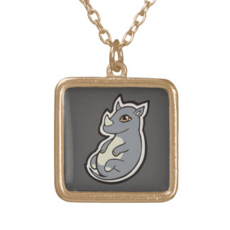Cute Baby Gray Rhino Big Eyes Ink Drawing Design Gold Plated Necklace