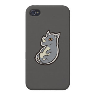 Cute Baby Gray Rhino Big Eyes Ink Drawing Design iPhone 4/4S Cases