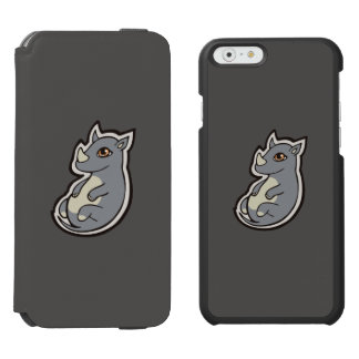 Cute Baby Gray Rhino Big Eyes Ink Drawing Design iPhone 6/6s Wallet Case