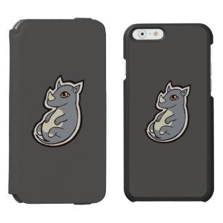 Cute Baby Gray Rhino Big Eyes Ink Drawing Design iPhone 6/6s Wallet Case