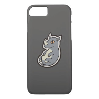 Cute Baby Gray Rhino Big Eyes Ink Drawing Design iPhone 7 Case