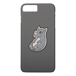 Cute Baby Gray Rhino Big Eyes Ink Drawing Design iPhone 7 Plus Case