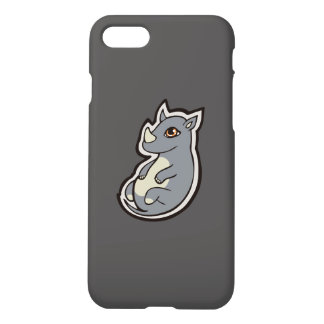 Cute Baby Gray Rhino Big Eyes Ink Drawing Design iPhone 8/7 Case