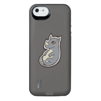 Cute Baby Gray Rhino Big Eyes Ink Drawing Design iPhone SE/5/5s Battery Case