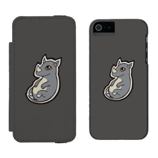 Cute Baby Gray Rhino Big Eyes Ink Drawing Design iPhone SE/5/5s Wallet Case