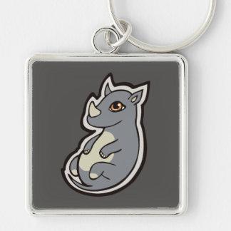 Cute Baby Gray Rhino Big Eyes Ink Drawing Design Keychain