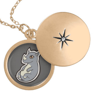 Cute Baby Gray Rhino Big Eyes Ink Drawing Design Locket Necklace
