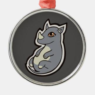 Cute Baby Gray Rhino Big Eyes Ink Drawing Design Metal Ornament