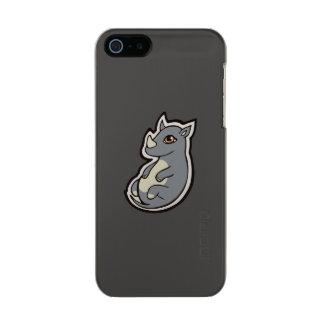 Cute Baby Gray Rhino Big Eyes Ink Drawing Design Metallic iPhone SE/5/5s Case