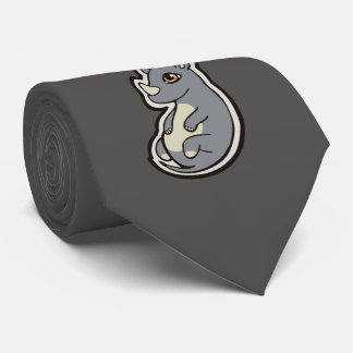 Cute Baby Gray Rhino Big Eyes Ink Drawing Design Neck Tie