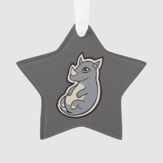 Cute Baby Gray Rhino Big Eyes Ink Drawing Design Ornament