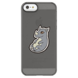 Cute Baby Gray Rhino Big Eyes Ink Drawing Design Permafrost® iPhone SE/5/5s Case