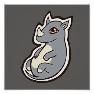 Cute Baby Gray Rhino Big Eyes Ink Drawing Design Photo Print