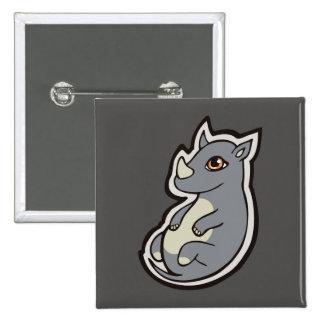 Cute Baby Gray Rhino Big Eyes Ink Drawing Design Pinback Button