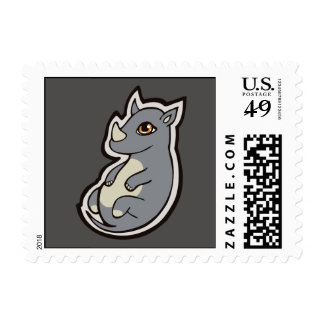 Cute Baby Gray Rhino Big Eyes Ink Drawing Design Postage