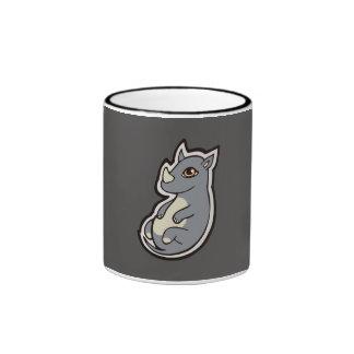 Cute Baby Gray Rhino Big Eyes Ink Drawing Design Ringer Mug