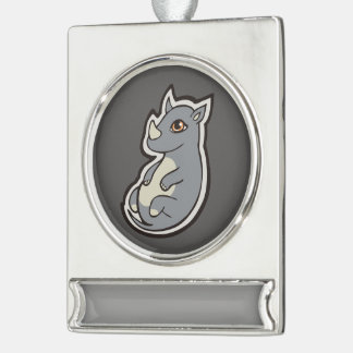 Cute Baby Gray Rhino Big Eyes Ink Drawing Design Silver Plated Banner Ornament