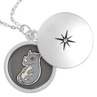 Cute Baby Gray Rhino Big Eyes Ink Drawing Design Silver Plated Necklace