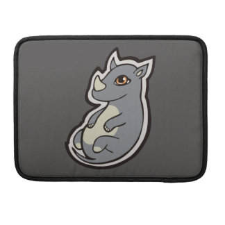 Cute Baby Gray Rhino Big Eyes Ink Drawing Design Sleeve For MacBook Pro