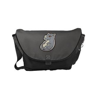 Cute Baby Gray Rhino Big Eyes Ink Drawing Design Small Messenger Bag