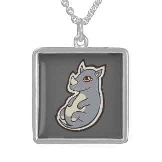 Cute Baby Gray Rhino Big Eyes Ink Drawing Design Sterling Silver Necklace
