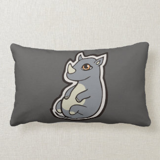 Cute Baby Gray Rhino Big Eyes Ink Drawing Design Throw Pillow