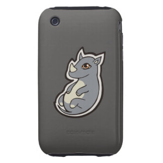Cute Baby Gray Rhino Big Eyes Ink Drawing Design Tough iPhone 3 Cover
