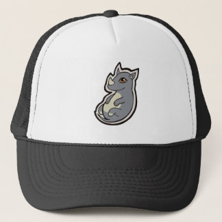 Cute Baby Gray Rhino Big Eyes Ink Drawing Design Trucker Hat