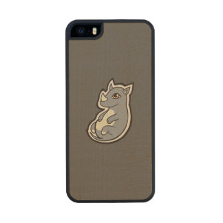 Cute Baby Gray Rhino Big Eyes Ink Drawing Design Wood Phone Case For iPhone SE/5/5s