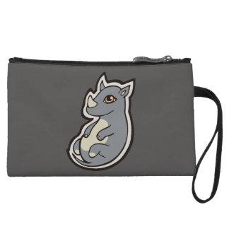 Cute Baby Gray Rhino Big Eyes Ink Drawing Design Wristlet Wallet