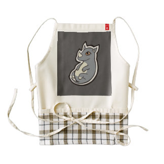 Cute Baby Gray Rhino Big Eyes Ink Drawing Design Zazzle HEART Apron