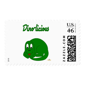Cute Baby Green Dinosaur Dino-licious Postage Stamps