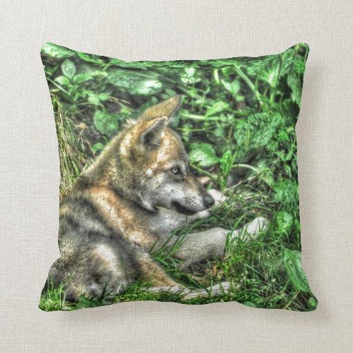 Cute Baby Grey Wolf Pup Wildlife Photo Throw Pillow