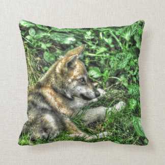 Cute Baby Grey Wolf Pup Wildlife Photo Throw Pillow