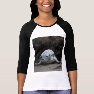 Cute Baby Harbor Seal crawling across Beach T-Shirt