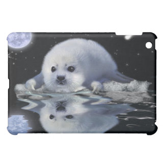Cute Baby Harp Seal & Full Moon iPad Case