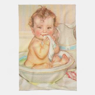 Cute Baby Having a Bath Towels