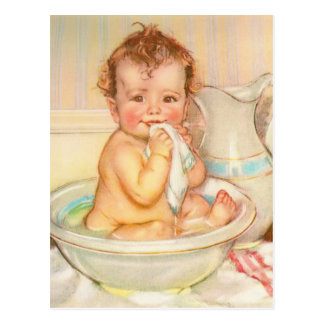 Cute Baby Having a Bath Post Cards