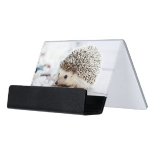 Cute business card holders cases zazzle cute baby hedgehog desk business card holder colourmoves