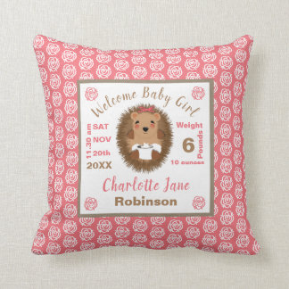 Cute Baby Hedgehog Newborn Girl Personalized Throw Pillow