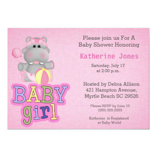 Cute Baby Hippo Baby Shower Invitation