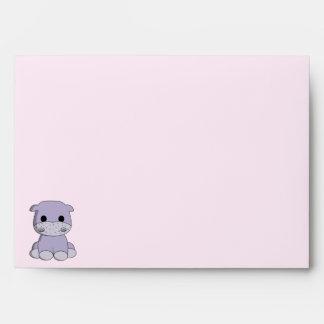 Cute baby hippo cartoon envelope