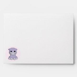 Cute baby hippo cartoon envelopes