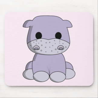 Cute baby hippo cartoon kids mouse pad