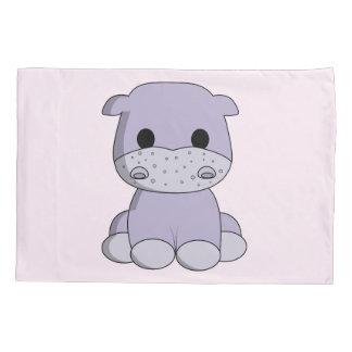 Cute baby hippo cartoon kids pillowcase