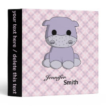 Cute baby hippo cartoon name girls binder